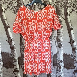 Red and White patterned Everly dress